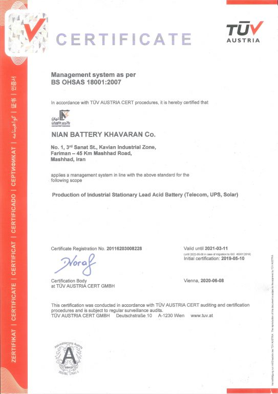 CERTIFICATE  Management system as per BS OHSAS 18001:2007