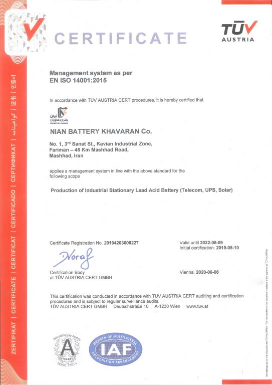 CERTIFICATE  Management system as per EN ISO 14001:2015
